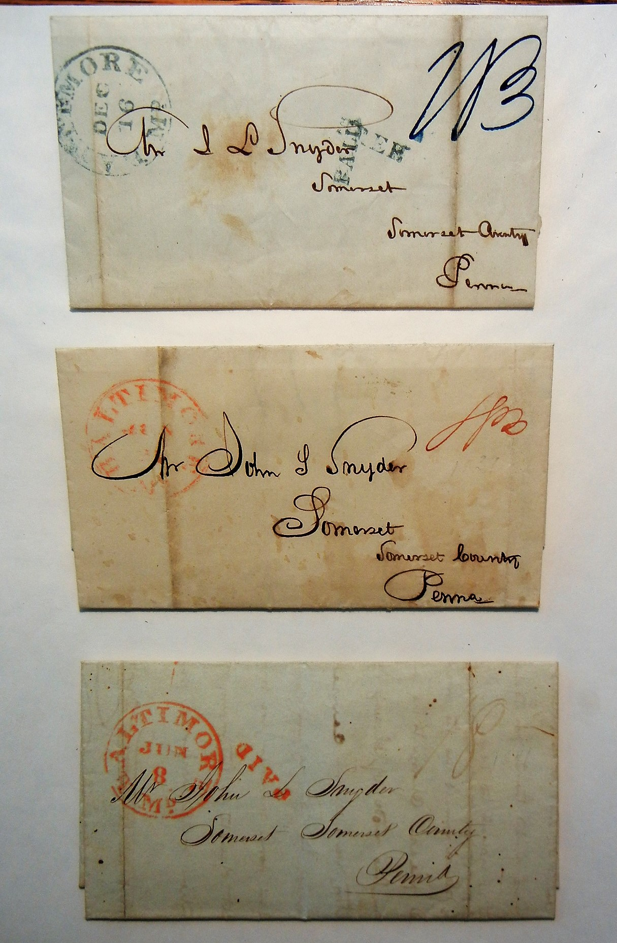 BALTIMORE MARYLAND - 3 STAMPLESS FOLDED LETTERS (ONE 1839