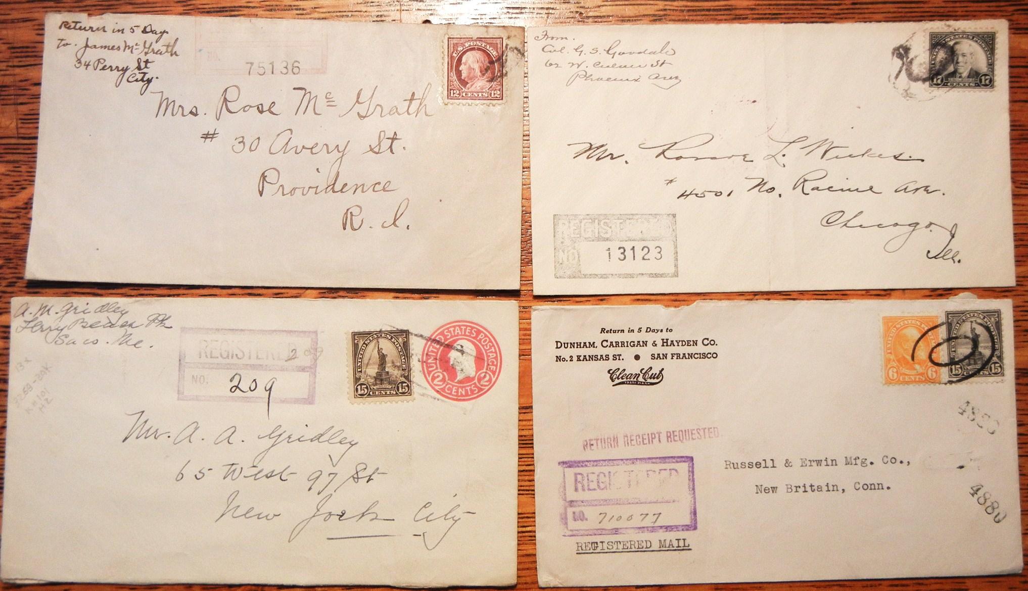 U S Registered Letter Covers 4 1917 1930 1931 1935 Mgj Postal