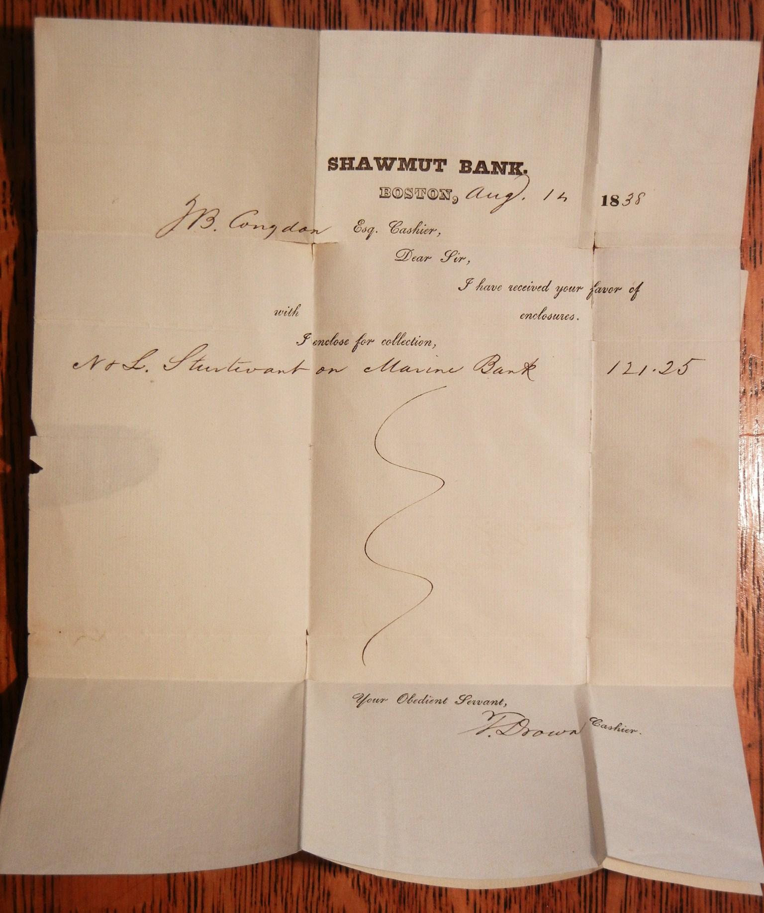 BOSTON MASSACHUSETTS 1838 SHAWMUT BANK LETTERHEAD STAMPLESS FOLDED ...