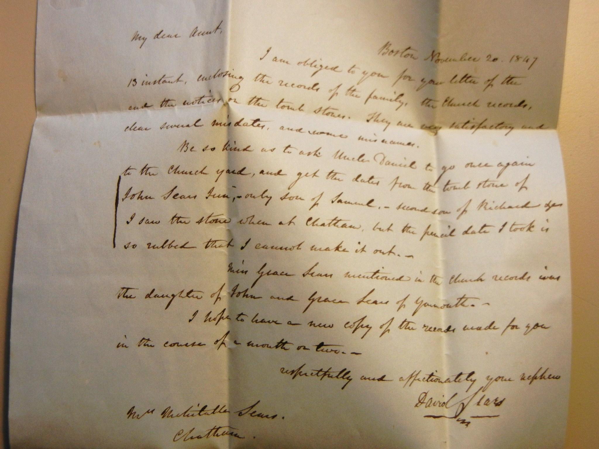 BOSTON MASSACHUSETTS 1849 STAMPLESS FOLDED LETTER FROM PROMINENT ...