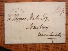 POSTAL HISTORY - HANOVER NEW HAMPSHIRE 1832 STAMPLESS COVER