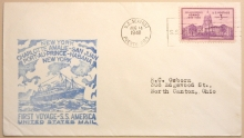 S.S. AMERICA FIRST VOYAGE 1940 COVER WITH PUERTO RICO SEAPOST POSTMARK - MARITIME-POSTAL-HISTORY
