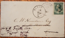 ALTON AND WATKINS NEW YORK, PLUS SOUTH NORWALK CONNECTICUT DEAD POST OFFICE POSTMARKS ON ONE 1888 COVER - POSTAL-HISTORY