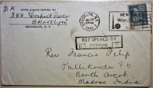 BROOKLYN NEW YORK 1940 MISSIONARY POSTAL HISTORY COVER TO PALLIKONDA INDIA - MORENWEISER TYPE 8 CENSOR MARK