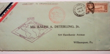 Zeppelin-postal-history-cover-Lakehurst-Saville-Friedrichshafen-to-Lakehurst-June-1930-flight-with-C-14-stamp