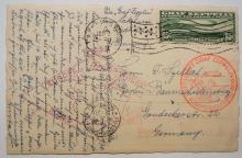 Zeppelin-flight-postcard-Lakehurst-Friedrichshafen-to-Lakehurst-postal-history-flight-1930-with-C-13-stamp
