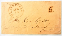 plainfield-connecticut-1850s-stampless-postal-history-cover-to-norwich-connecticut