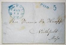 walpole new hampshire postal history stampless folded letter to northfield massachusetts