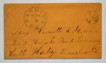 Hanover New Hampshire 1854 stampless postal history cover to Mount Holyoke Female Seminary South Hadley Massachusetts MOUNT HOLYOKE FEMALE SEMINARY, SOUTH HADLEY MASSACHUSETTS