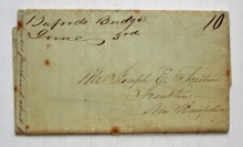 Bufords Bridge South Carolina 1848 manuscript postmark stampless folded letter to Franklin New Hampshire