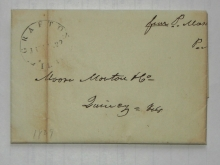 Grafton Illinois 1839 stampless folded letter signed by postmaster Paris Mason