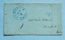Andover Massachusetts 1855 stampless postal history cover to Kennebunk Maine