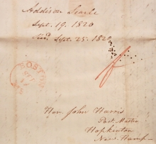 1820 STAMPLESS FOLDED LETTER EPISCOPALIAN MINISTER ADDISON SEARLE TO JOHN HARRIS, NEW HAMPSHIRE STATESMAN AND 1ST POSTMASTER OF HOPKINTON.