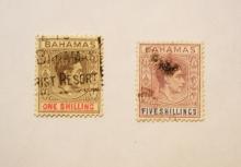 BAHAMAS 1937 CORONATION ISSUE.  SCOTT 110 & 112 USED.- BERMUDA-STAMPS