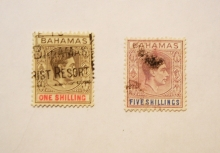 BAHAMAS 1937 CORONATION ISSUE.  SCOTT 110 & 112 USED.- BERMUDA-STAMPS