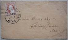 BANGOR MAINE SCOTT #10 ON 1853 COVER.