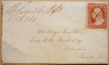 BELMONT MASSACHUSETTS 1850S MANUSCRIPT POSTMARK WITH SCOTT #25 COVER - POSTAL-HISTORY