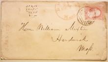 BOSTON MASSACHUSETTS 1850S COVER WITH SCOTT #25. NICE BLACK PAID KILLER WITH RED BOSTON POSTMARK. - POSTAL-HISTORY