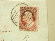 BROWNISH CARMINE SCOTT #25 STAMP ON BOSTON MASSACHUSETTS 1850S COVER