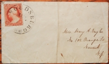 STROUDSBURGH PENNSYLVANIA SCOTT #26 ON COVER TO NEWARK NEW JERSEY - POSTAL HISTORY