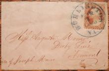 BURLINGTON VERMONT MAR 3 1869 COVER WITH SCOTT #25 BLUE SOCK ON THE NOSE POSTMARK - POSTAL-HISTORY