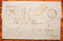 MARITIME POSTAL HISTORY - NEW YORK CITY 1849 STAMPLESS FOLDED LETTER TO LYON, FRANCE VIA STEAMER AMERICA.