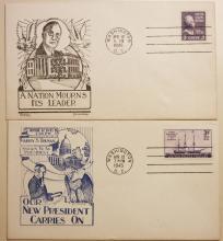 1945 TRUMAN INAUGURATION FIRST DAY COVER & FDR MEMORIAL COVER. DOROTHY W. KNAPP & RICHARDSON DESIGN.