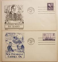 1945 TRUMAN INAUGURATION FIRST DAY COVER & FDR MEMORIAL COVER. DOROTHY W. KNAPP & RICHARDSON DESIGN.