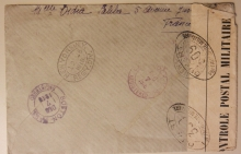 WWI FRANCE TO NEW BEDFORD MASSACHUSETTS 1916 MILITARY CENSOR COVER. FRENCH STAMPS - POSTAL HISTORY