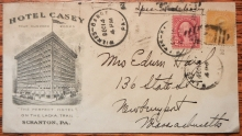 SCRANTON PENNSYLVANIA 1929 SPECIAL DELIVERY COVER. HOTEL CASEY ADVERTISING . SPECIAL-DELIVERY-POSTAL-HISTORY