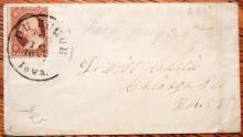 DUBUQUE (DE BUQUE) IOWA HUGE SOCK POSTMARK 1857 COVER SCOTT #25 STAMP