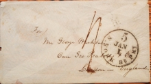 NEW YORK TO LONDON TRANSATLANTIC COVER WITH JANUARY 1, 1858 5 RATE POSTMARK NUMERAL 1 IS INVERTED - MARITIME-POSTAL-HISTORY