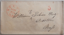 KEENE NEW HAMPSHIRE STAMPLESS COVER RED POSTMARK AND 5 RATE - POSTAL HISTORY