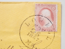 LOWELL MASSACHUSETTS 1857 COVER WITH SCOTT 25A.