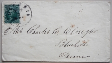 SCOTT 68A 10-CENT GREEN ON COVER TO BLUEHILL MAINE