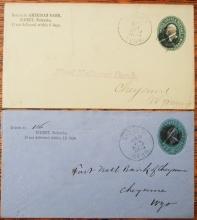 SIDNEY NEBRASKA 2 POSTAL STATIONERY COVERS WITH NICE HANDSTAMP POSTMARKS - POSTAL HISTORY