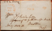 NEW LONDON CONNECTICUT 1847 STAMPLESS FOLDED LETTER - POSTAL HISTORY