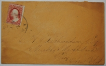 ALBANY NEW YORK COVER WITH FRESH SCOTT #25 ADDRESSED TO MERCHANTS & MECHANICS BANK, TROY NEW YORK - POSTAL-HISTORY