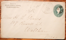 FRAMINGHAM MASSACHUSETTS 1892 STATE NORMAL SCHOOL CORNERCARD COVER - POSTAL-HISTORY