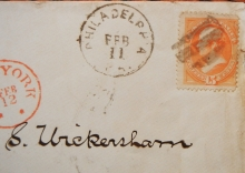 POSTAL HISTORY - PHILADELPHIA PENNSYLVANIA TO NEW YORK TO PIACENZA ITALY. U.S. SCOTT 163