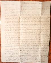 EPISCOPALIAN MINISTER ADDISON SEARLE 1820 STAMPLESS FOLDED LETTER