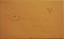 """PLYMOUTH MASSACHUSETTS STAMPLESS COVER WITH """"V"""" RATE MARK - POSTAL-HISTORY"""