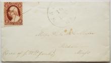 WALPOLE MAINE TO MIDDLEBORO MASSACHUSETTS 1850S COVER.  SCOTT #11A. CLARET STAMP -- POSTAL-HISTORY