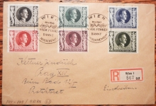 AUSTRIA/GERMANY VIENNA COVER WITH SCOTT B231-236 GERMAN STAMPS.