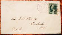 POSTAL HISTORY - WELLESLEY MASSACHUSETTS 1800S COVER WITH 3-CENT BANKNOTE