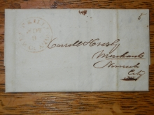 west.killingly.ct.crosby.1845.stampless.folded.letter.danielsonville.connecticut