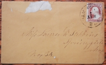 SOUTH WILBRAHAM MASSACHUSETTS RARE DPO COVER WITH SCOTT #26 STAMP - POSTAL HISTORY