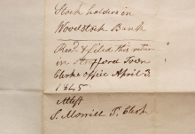 WOODSTOCK VERMONT MARCH 32 (!!!) 1854 STAMPLESS FOLDED LETTER RE: WOODSTOCK BANK STOCK - POSTAL HISTORY