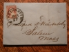 CINCINNATI OHIO 1852 STAMPED FOLDED LETTER TO SALEM MASSACHUSETTS. SCOTT 11A