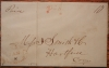 DERBY CONNECTICUT 1844 STAMPLESS FOLDED LETTER TO HARTFORD - POSTAL HISTORY